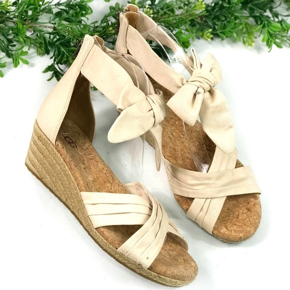 75b57599db UGG Shoes | Cream Bow Knot Low Heeled Wedge Sandals Size 8 | Poshmark
